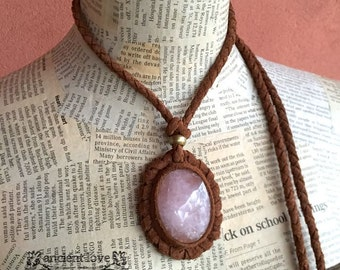 Leather Necklace with Stone! ancient love, Nomad World, Rose quartz, Necklace,