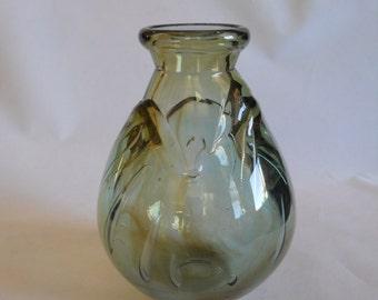 Handblown Glass Vase, Green Glass Vase, Small Vase, Art Glass, Signed Glass Vase