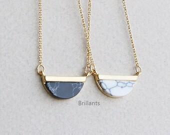 Half Circle Howlite Stone necklace, Marble stone necklace, White, Black, Turquoise, Bridesmaid gift, Bridesmaid necklace, Wedding necklace