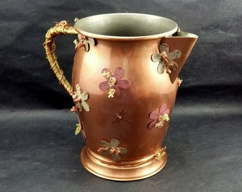 Vintage Copper Pitcher, Mixed Media, Decorated, Rustic