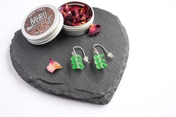 Sea Glass Earrings; sterling silver, ocean, for her, gift ideas, jewelery, jewelry, green, simple, autumn, seaside, surf, beach, christmas