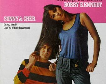 1966 Sonny & Cher - Saturday Evening Post Magazine Cover - Retro 1960s Wall Art Print
