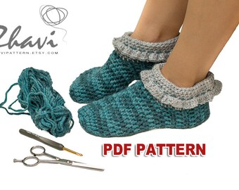 Crochet Slippers Pattern #25, Blue Adult Alpaca Wool Slippers, Step by step instructions with clear detailed description and exellent images