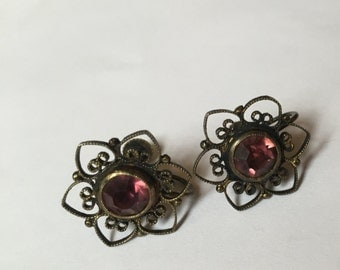 Amethyst & Silver Filigree Stud Earrings - Vintage