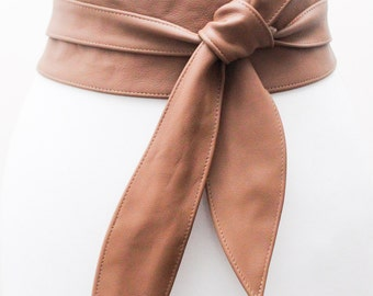 Tan Camel Leather Obi Belt | Tan Corset Belt | Sash Belt| Plus Size Accessory | Cinch Belt | Bridal Belt | Wrap Belt | Leather Tie Belt