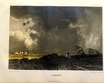 1872 Antique STORM color engraving, vintage  meteorology print, Meteorological atmospheric phenomena lithograph, thunderstorm atmosphera.