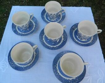 Vintage English Ironstone Tableware (EIT) Blue Willow Teacups Tea cup Saucer Teaset x6