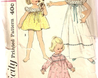 VINTAGE Simplicity Sewing Pattern 3028 - Children's Clothes - Nightgown, Size 6