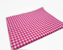 gingham fat quarter, pink check fabric, check fat quarter, quilting supplies, patchwork square, sewing supplies, uk fabric supplies,