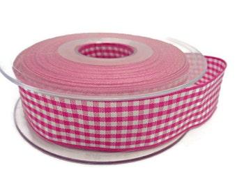 Pink gingham ribbon, pink checked ribbon, pink white ribbon, sewing supplies, haberdashery items, sewing trim, cardmaking ribbon, uk ribbon