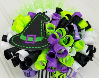 Funky Loopy Bow - Wicked You Say It Like It's a Bad Thing - Purple, White, Lime Green & Black - READY TO SHIP