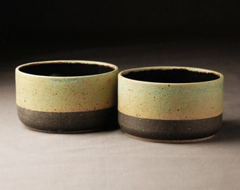 2 Contemporary Turquoise, Yellow and Black Bowls