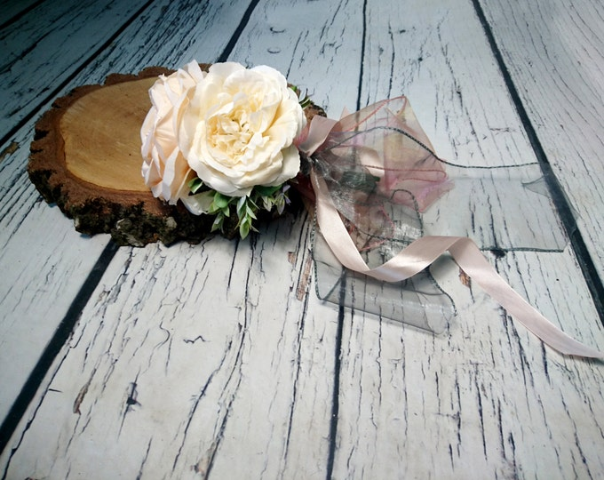 small silk peonies rustic wedding BOUQUET ivory cream peach flowers boho chiffon satin ribbons bridesmaid custom best quality