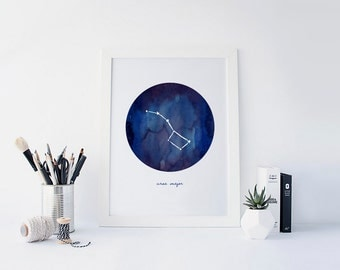 Ursa Major, Big Dipper, Constellations Watercolor, Astronomy Wall Art, Astrology Art, Big Dipper Art, Outer Space Decor, Printable