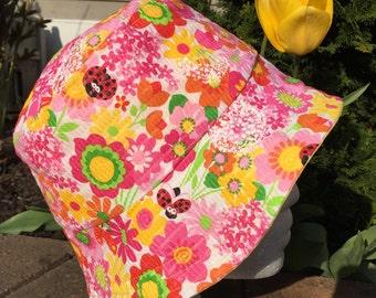 Flower and Lady Bug Girls Hat Reversible Bucket hat. Bucket hat. Beach hat. Sun Hat.