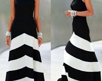 Black & White Striped Off Shoulder Backless Maxi Dress