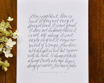 "1 Corinthians 13 4-8 modern calligraphy 8x10"" print"