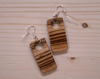 Zebrano wood earrings. Drop earrings