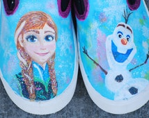 Painted Frozen Shoes, Girls Frozen Shoes, Hand Painted Girls Sneakers, Frozen, Girls Shoes, Girls Custom Sneakers, Cutest Girl Gifts