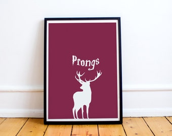 Prongs Minimalist Print - James Potter - Marauders Map - Harry Potter (Available in many sizes)