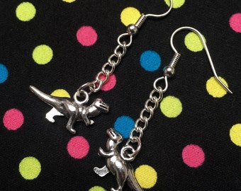 T-Rex Dinosaur Dangle Earrings