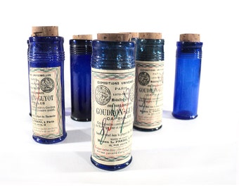 French Blue Vial, Apothecary Jar, Chemist Bottle, Medical Goudron-Guyot Vial, Parisian Pharmacy, Drugstore Decor, Medecine Collectible