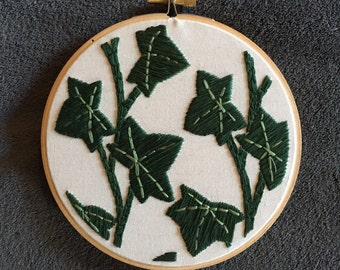 Hoop Art - Ivy Leaves and Vine Foliage Embroidery Art in 6 Inch Hoop - Home Decor - Wall Art - Wall Hanging