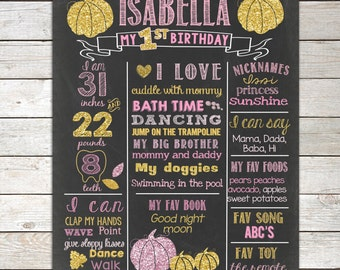Pumpkin Pink and Gold First Birthday Chalkboard, ANY AGE,Pumpkin 1st Birthday Chalkboard Poster,1st Birthday Chalkboard Sign,Printable File
