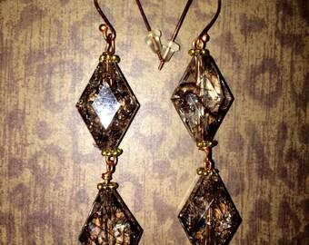 Brown Marble Glass Bead Earrings