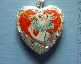 Heart pendant white rabbit from Alice in Wonderland country