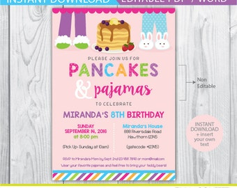 pancakes and pajamas invitation, pancake and pajama party, pancake invitation, pancakes and pajamas party, pancakes and pajamas birthday