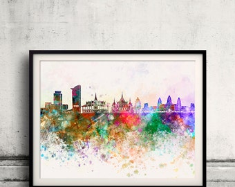Phnom Penh skyline in watercolor background - Fine Art Print Glicee Poster Gift Illustration Colorful - SKU 2401