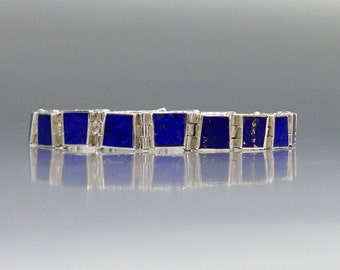 Bracelet Lapis Lazuli with Sterling silver inlay work - gift idea