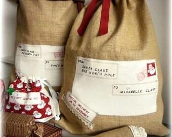 Rustic Hand Made Embroidered Hessian/Burlap Christmas Sack/SANTA Sack /Extra Large Sac/Christmas sac/Custom Name Christmas Bag/Holiday Sacks