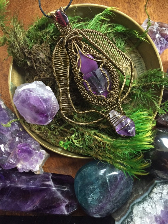 Double amethyst point sugilite and garnet wire wrap for True frequency jewelry reviews