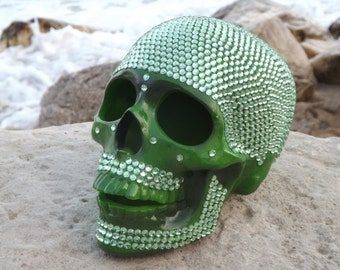 FREE SHIPPING Unique Handmade Handcrafted Green Rhinestones Diamond Gems Jewelry Shiny Luxury Day of the Dead Ceramic Sugar Skull