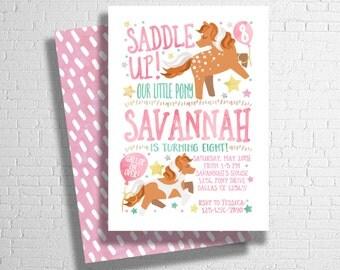 Pony Birthday Invitation | Horse Birthday Invitation | Our Little Pony Invitation | Cowgirl Birthday Invitation | DIGITAL FILE ONLY