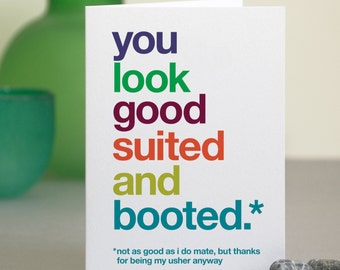 Usher Thank You Card - Funny Usher Thanks - Sarcastic Usher Thank You - Witty Usher Card - Wedding Thank You Card - FREE UK DELIVERY