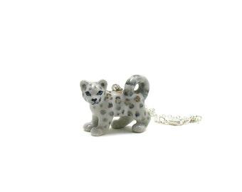 Snow Leopard Necklace, Charm Necklace, Charm Jewelry, Snow Leopard Pendant, Leopard Jewelry, Leopard Charm, Jewelry Gift, Ceramic Leopard