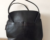 Black Leather Vintage Top Handle Handbag