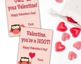 "Kids Valentine's Cards, Owl Class Valentines, Digital, Printable, 3.5""x4.5"""