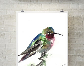 Art Print of Hummingbird, watercolor painting print, art print, bird print, watercolor wall art, bird art