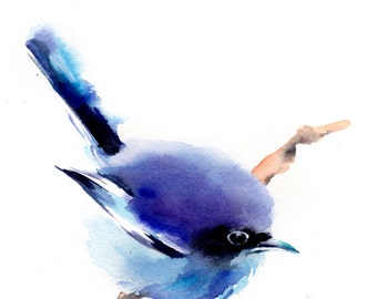 Blue Bird Watercolor Print , Bird Painting, Watercolor Painting, Bird Print, Wall art, Minimalist Painting