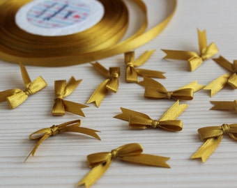 50/100 Gold Mini Satin Ribbon Bows Applique Embellishments Wedding Decoration Baby Shower Card Making Scrapbooking Small Tiny Bows