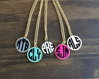 Monogrammed Round Enamel Disc Necklace-Gold Chain