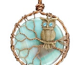 Owl in a Tree Pendant with Celeste Moon and Turquoise Swarovski Crystals
