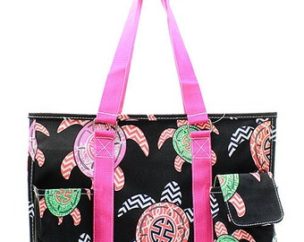 Black Turtle Print Medium Size Utility Tote Bag Hot Pink Trim
