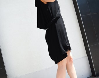 Asymmetrical Black Scarf Dress / Infinity Scarf/ Extravagant Casual Dress/ Loose Drape Tunic / Knit Cotton Tunic zm034