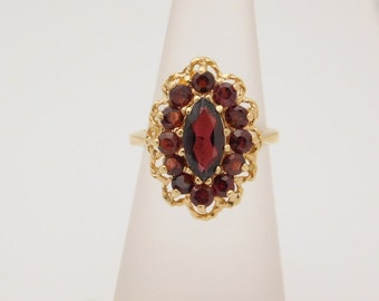 Ladies Marquise & Round Cut Garnet Ring 14K