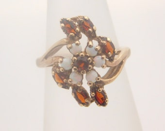 Ladies Marquise Cut Garnet & Opal Ring 10K Yellow Gold